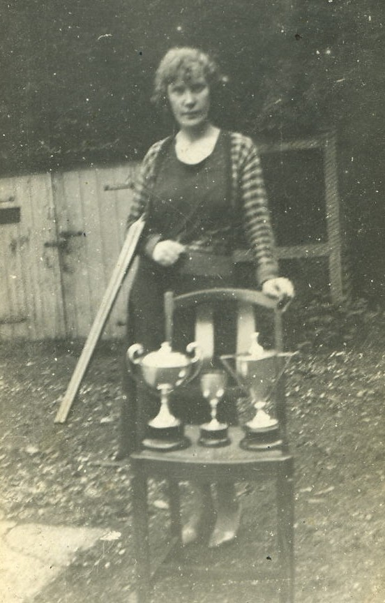 Betty Manson with Willie's Shooting Cups